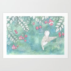Hummingbird's Garden: In the fuschias Art Print