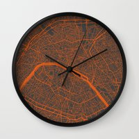 paris map Wall Clocks featuring Paris map by Map Map Maps