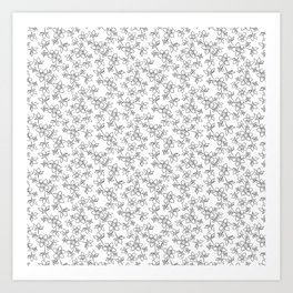Black and white floral line art pattern Art Print
