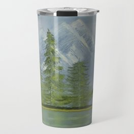 Lonely Isle Mountainous Landscape Oil Painting by Rosie Foshee Travel Mug