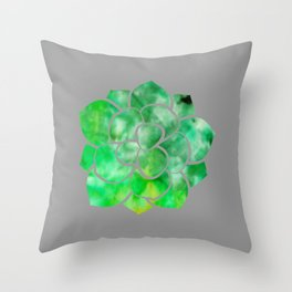 Succulent - Grey with Green Ice Dye Throw Pillow