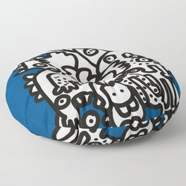 Blue Navy Color 2020 with Black and White Cool Monsters Floor Pillow