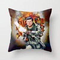 jfk Throw Pillows featuring Zombieland: JFK by Richard Michaud