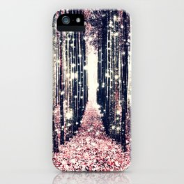 Magical Forest Millennial Pink Pewter Elegance iPhone Case