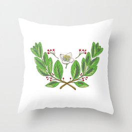 Yerba Mate Flower Leaf and Fruit Drawing Throw Pillow