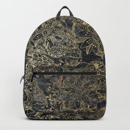 Glam black gray faux gold creased paper floral Backpack