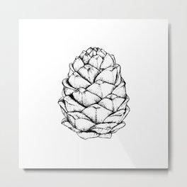 Dotwork cedar pine cone Metal Print