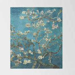 Blossoming Almond Trees, Vincent van Gogh. Famous vintage fine art. Throw Blanket