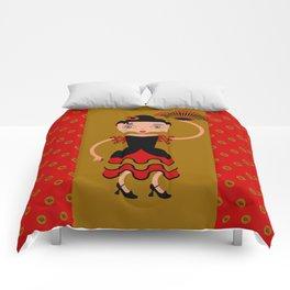 Spanish Flamengo Dancer Comforters