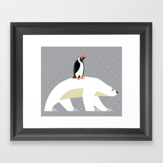 The Polar Bear and The Penguin Framed Art Print