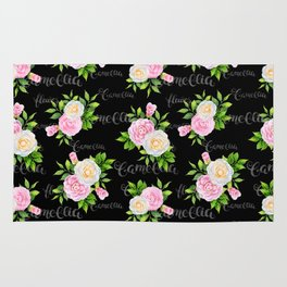 Watercolor blush pink white black camellia floral typography Rug
