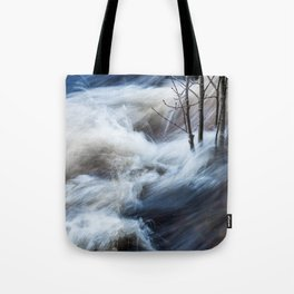 Beautiful colorful rapids and tree branches close view Tote Bag