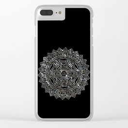 Aztec Mexican Silver Mandala Clear iPhone Case