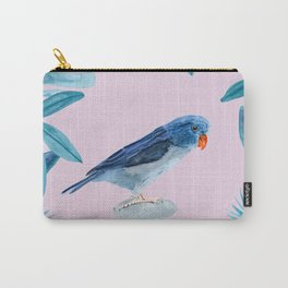 Blue Pacific Parrotlet with tropical leaves and a violet background Carry-All Pouch