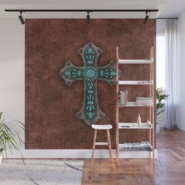 Brown and Turquoise Rustic Cross Wall Mural