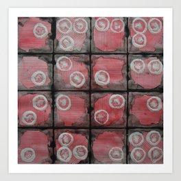 Black Grid Red Stripes Art Print
