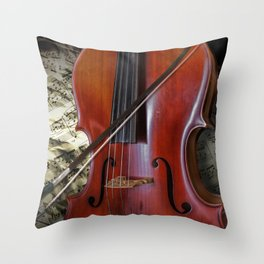 Cello with Bow a Stringed Instrument with Classical Sheet Music Throw Pillow