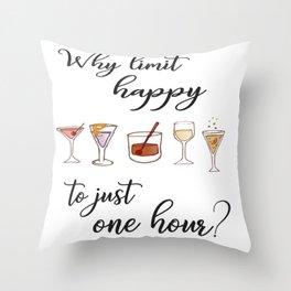 Happy Hour Print Throw Pillow