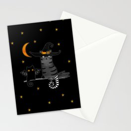 Magic Whitch cat in a hat and her black cat-bat for Halloween Stationery Cards