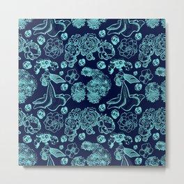 Blue Floral Pattern Metal Print