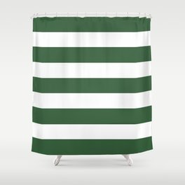 Hunter green -  solid color - white stripes pattern Shower Curtain