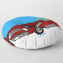 Old Red Christmas Truck In Snow Floor Pillow