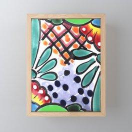 Colorful Talavera, Green Accent, Mexican Tile Design Framed Mini Art Print