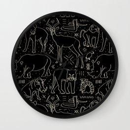 African Animal Mudcloth in Black + Bone Wall Clock