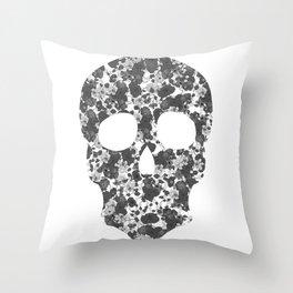 Black and White, Flower Skull Throw Pillow