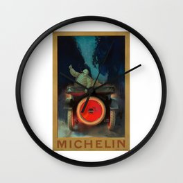 1921 Michelin Tires French Advertising Poster Wall Clock