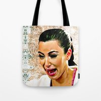 kardashian Tote Bags featuring Funny Cute Ugly Crying face iPhone 4 4s 5 5c 6, pillow case, mugs and tshirt by Greenlight8