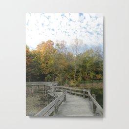 Bridge Into Autumn Metal Print