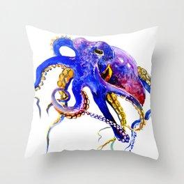 Octopus, Blue, Gold,Purple Throw Pillow