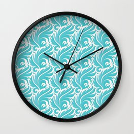 Turquoise Feather Swirls Wall Clock