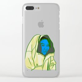 Blue Face Clear iPhone Case