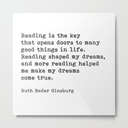 RGB, Reading Is the Key That Opens Doors, Motivational, Quote Metal Print