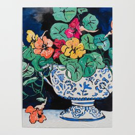 Nasturtium Bouquet in Chinoiserie Bowl on Dark Blue Floral Still Life Painting Poster