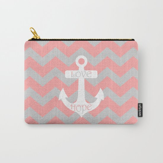 Anchor Chevron Gray Coral Pink Carry-All Pouch