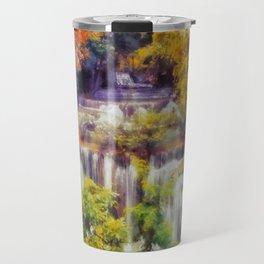 Autumn landscape with waterfall Travel Mug