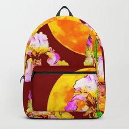 BURGUNDY SKY IRIS GARDEN RISING GOLDEN MOON Backpack