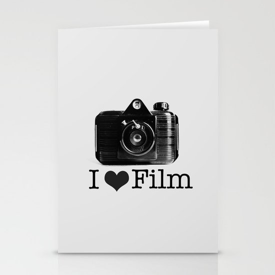 I ♥ Film (Grey/Black) Stationery Cards