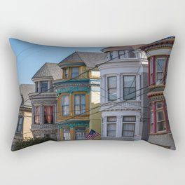 Painted Ladies Houses in San Francisco, California, Haight Ashbury Homes, Travel Photography  Rectangular Pillow