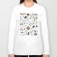 girly Long Sleeve T-shirts featuring Girly Objects by Yuliya