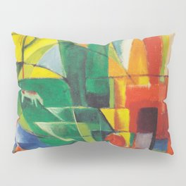 """Franz Marc """"Landscape with House and Two Cows (also known as Landscape with House, Dog and Cattle)"""" Pillow Sham"""