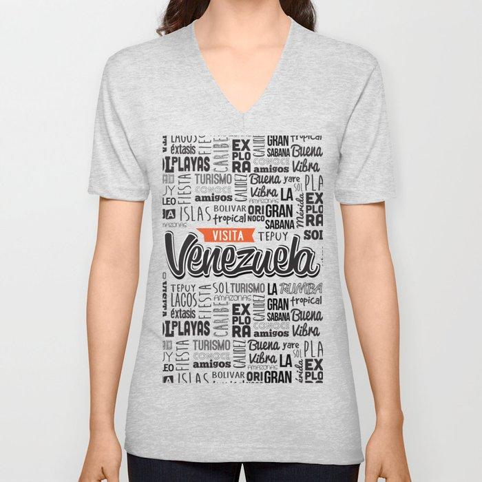 582c12697d Venezuela Lettering Design - Black and white Unisex V-Neck by selenedasilva