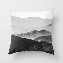 Glimpse - Black and White Mountains Landscape Nature Photography Throw Pillow
