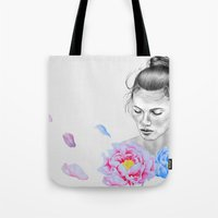 peony Tote Bags featuring Peony by Libby Watkins Illustration