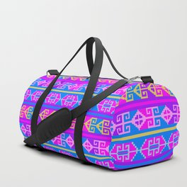 Colorful Mexican Aztec geometric pattern Duffle Bag