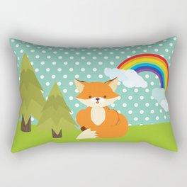 Fox, Rainbow , nursery decor , children gift, birthday gift Rectangular Pillow