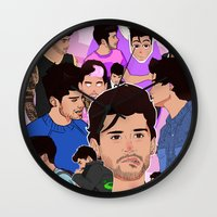 zayn Wall Clocks featuring Zayn Collage by Pinkeyyou